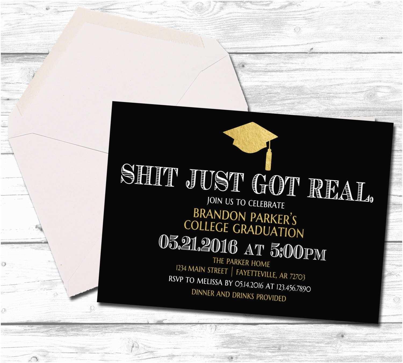 Funny Graduation Invitations Graduation Graduation Invitation Shit Just Got Real Black