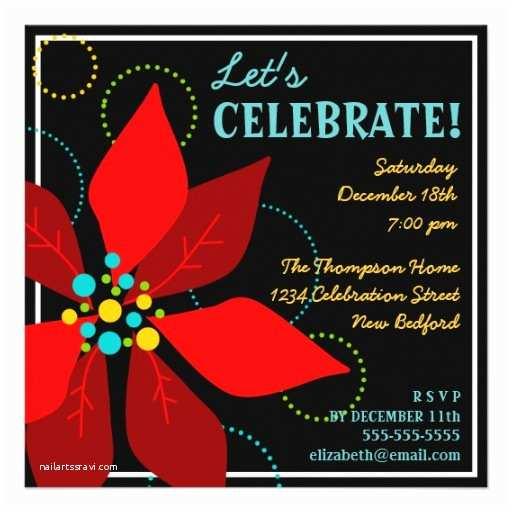 """Funny Holiday Party Invitations Fun Poinsettia Retro Holiday Party Invitation 5 25"""" Square"""