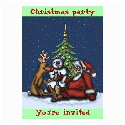 """Funny Holiday Party Invitations Funny Christmas Party Cartoon Art Invitation Card 5"""" X 7"""