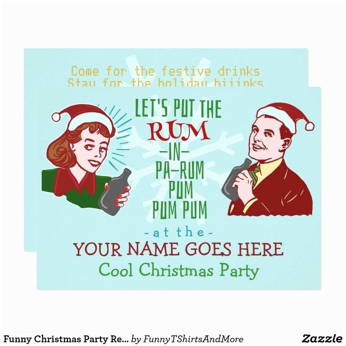 Funny Holiday Party Invitations Funny Christmas Party Retro Rum Adult Holiday V2 Card
