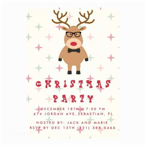 Funny Holiday Party Invitations Funny Nerdy Reindeer Christmas Party Invitation