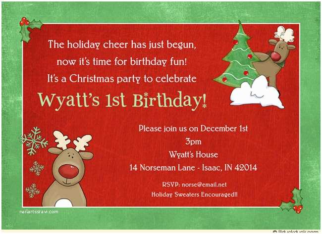 Funny Holiday Party Invitations Funny Reindeer Birthday Invitation Holiday Cheer
