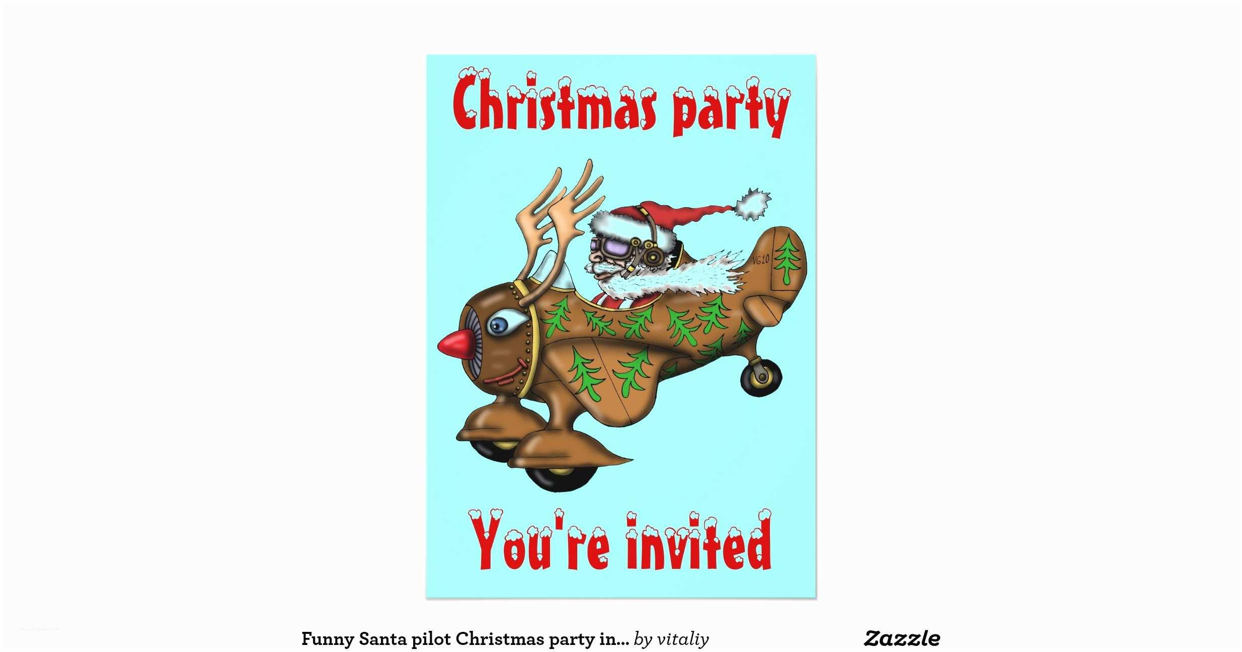 Funny Holiday Party Invitations Funny Santa Pilot Christmas Party Invitation Card