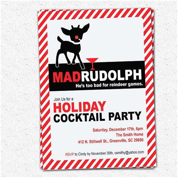 Funny Holiday Party Invitations Items Similar to Mad Rudolph the Red Nosed Reindeer Funny