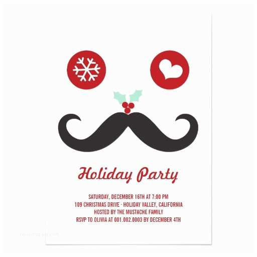 Funny Holiday Party Invitations Silly Fun Cute Mustache Smiley Holiday Party 5x7