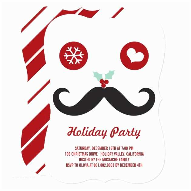 Funny Holiday Party Invitations Whimsical Mr Mustache Funny Holiday Party