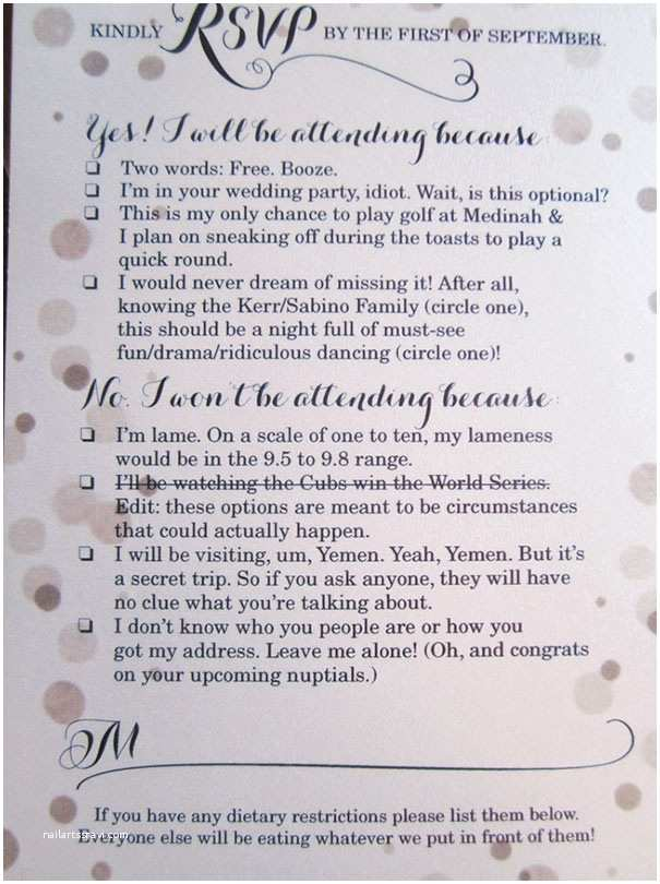 Funny Wedding Invitations 9 Hilarious Wedding Invitations That Simply Can't