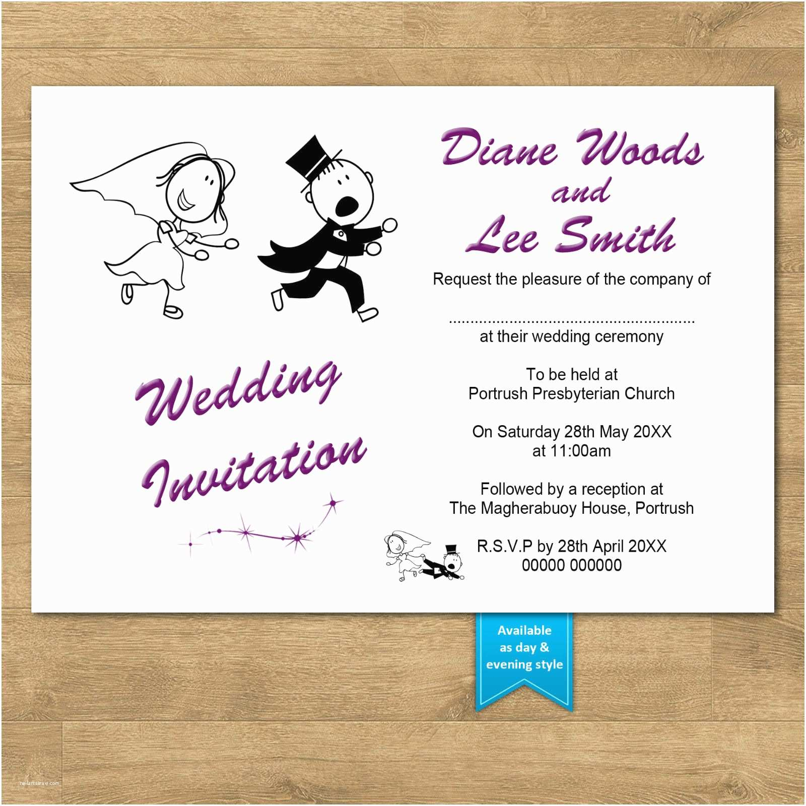 Funny Wedding Invitations Personalised Day & evening Funny Wedding Invitations Rg2