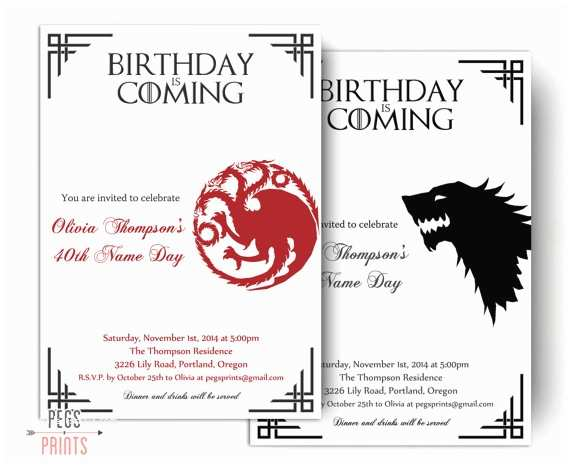 Game Of Thrones Party Invitation Dragon Birthday Invitation Wolf Birthday Invitation