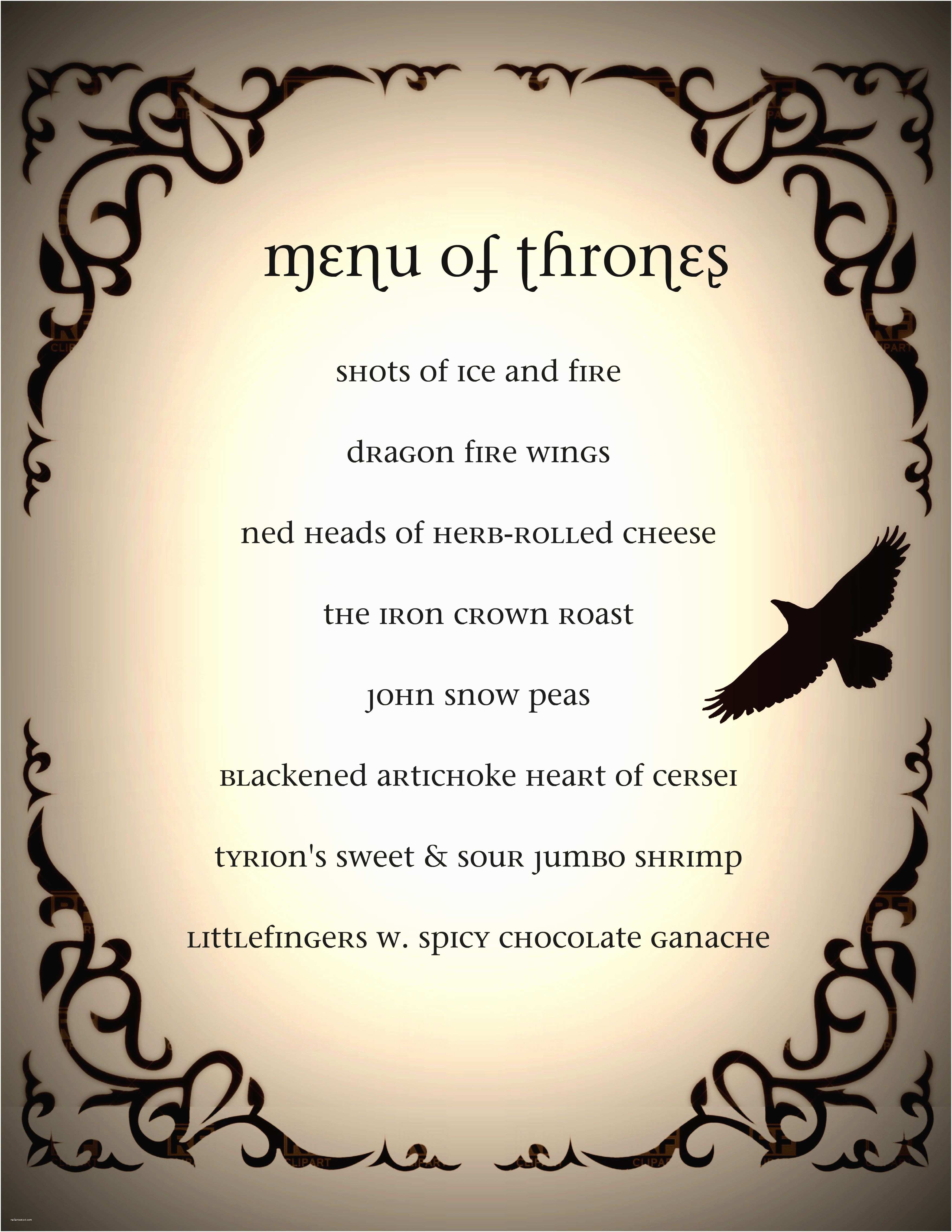 Game Of Thrones Party Invitation Game Of Thrones Dinner Party Menu Got