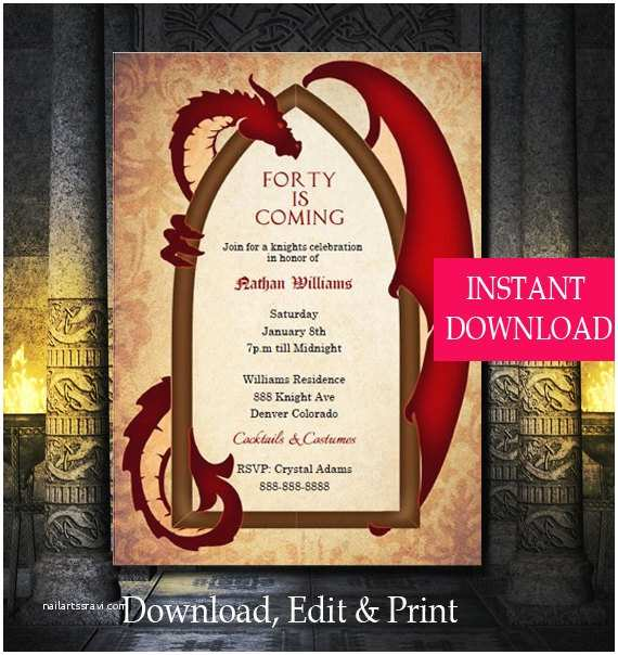 Game Of Thrones Party Invitation Game Of Thrones Inspired Dragon Invitation Dragon
