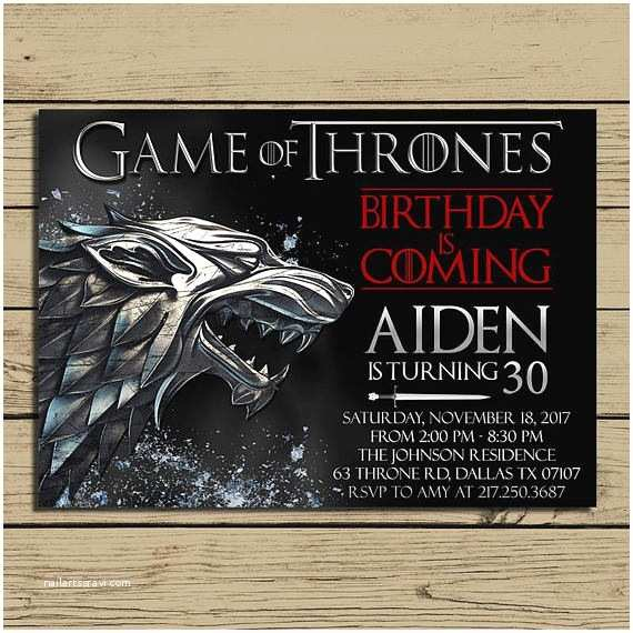 Game Of Thrones Party Invitation Game Of Thrones Invitation Game Of Thrones Birthday Party