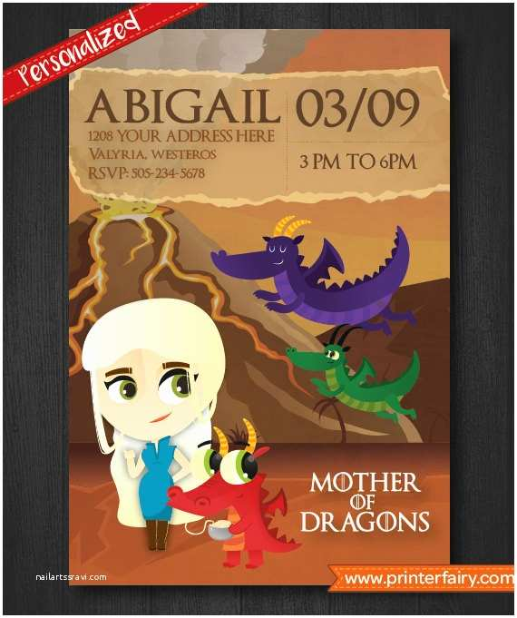Game Of Thrones Party Invitation Game Of Thrones Invitations Mother Of Dragons Personalized