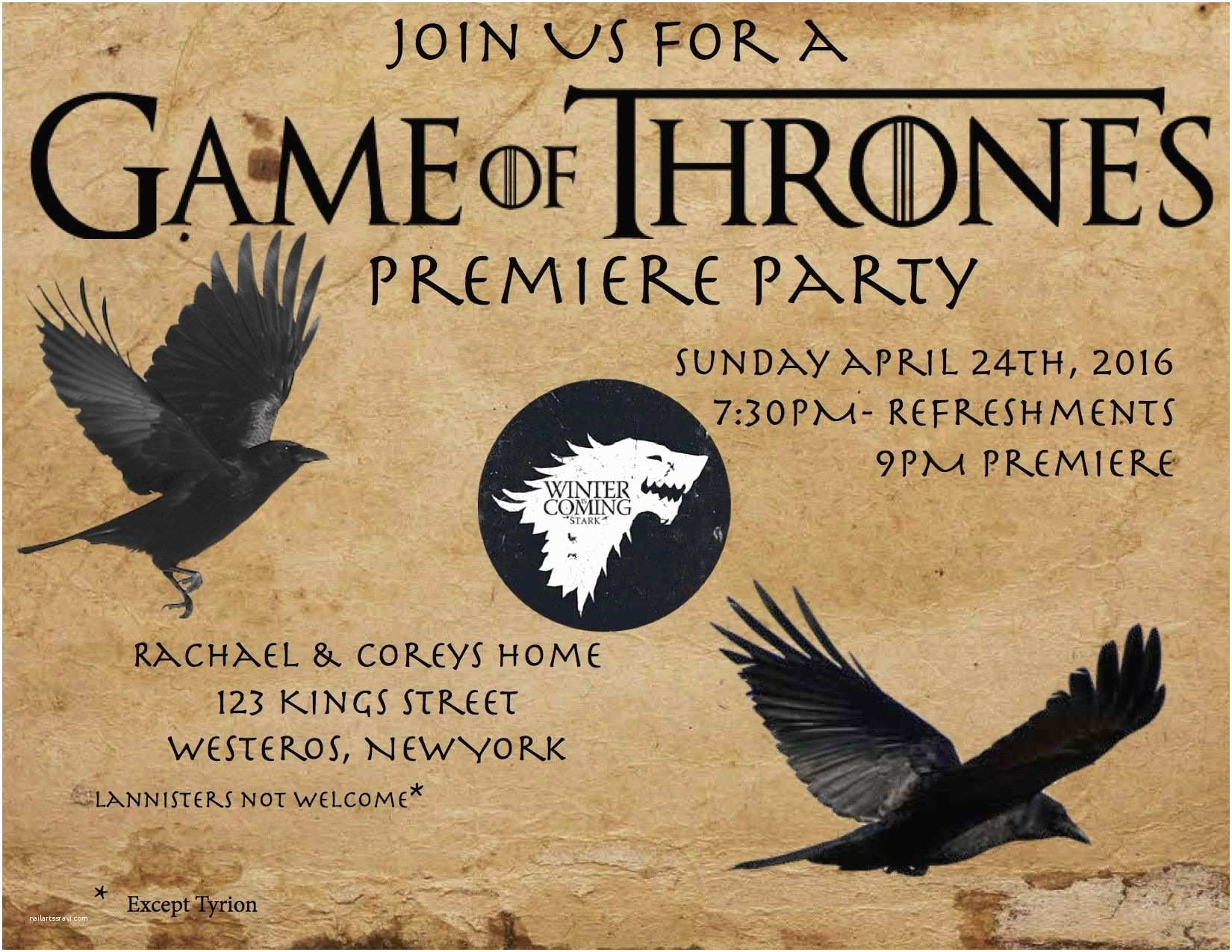 Game Of Thrones Party Invitation Game Of Thrones Premiere Party Invitation Inspiration I