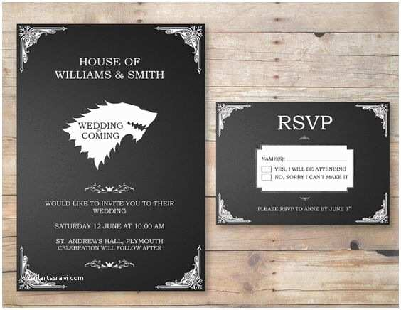 Game Of Thrones Party Invitation Game Of Thrones Wedding Invitation & Rsvp by Flurgdesigns