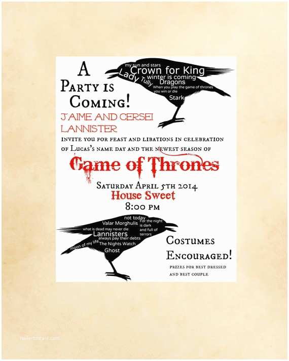 Game Of Thrones Party Invitation Game Thrones Party Invitation