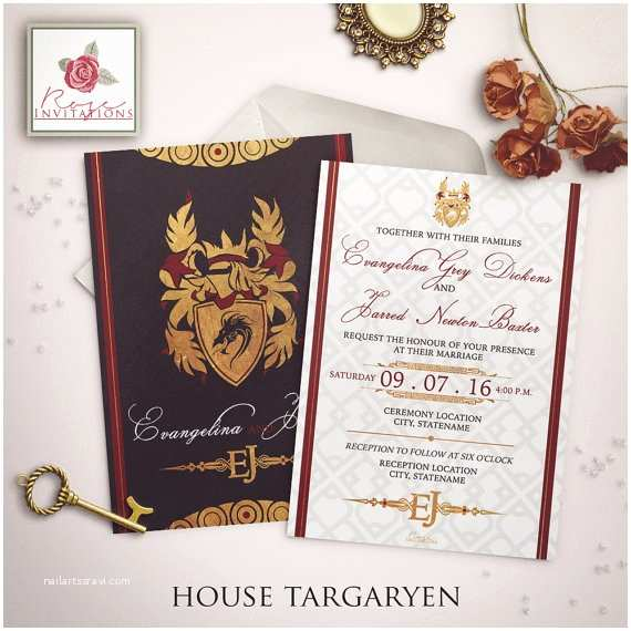 Game Of Thrones Party Invitation House Targaryen Wedding Invitation Game Of Thrones