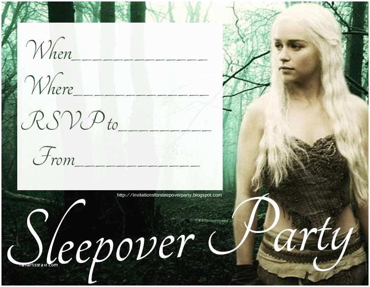 Game Of Thrones Party Invitation Invitations for Sleepover Party