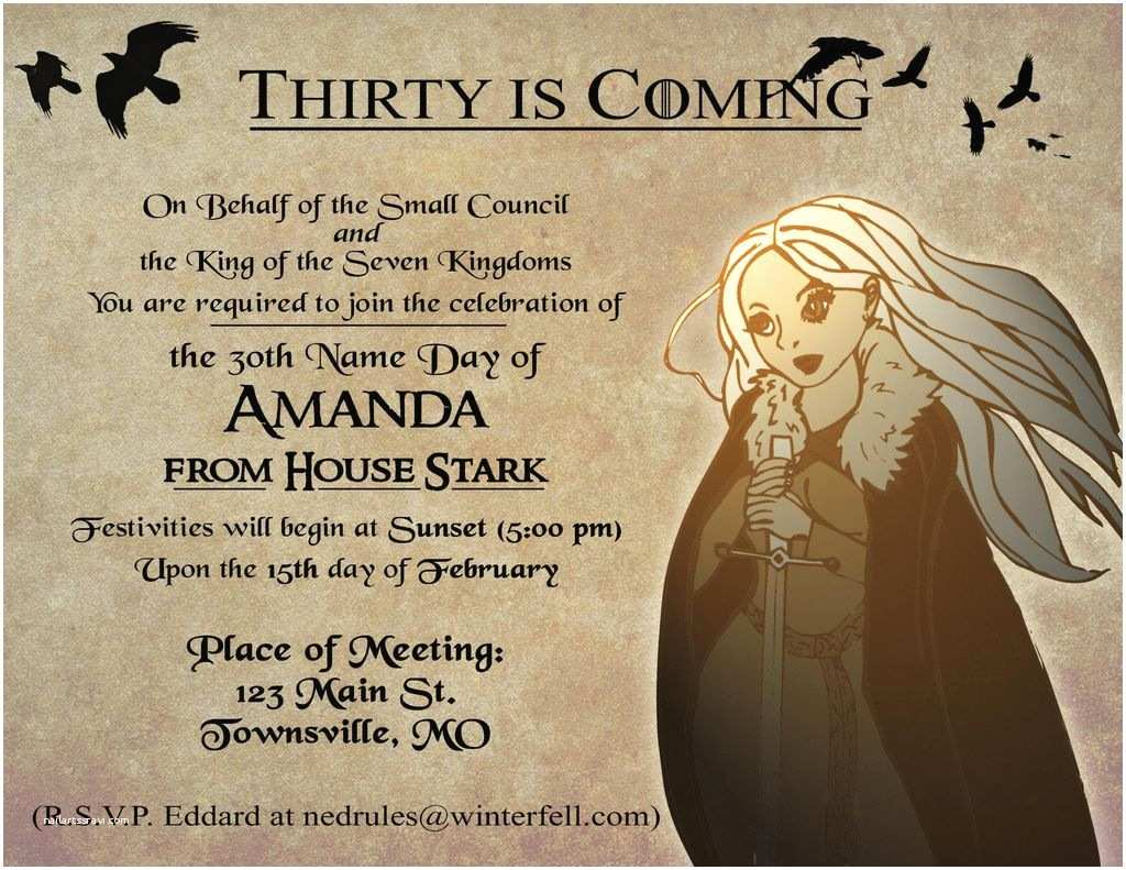 Game Of Thrones Party Invitation Nice Game Thrones Party Invitation Invitation