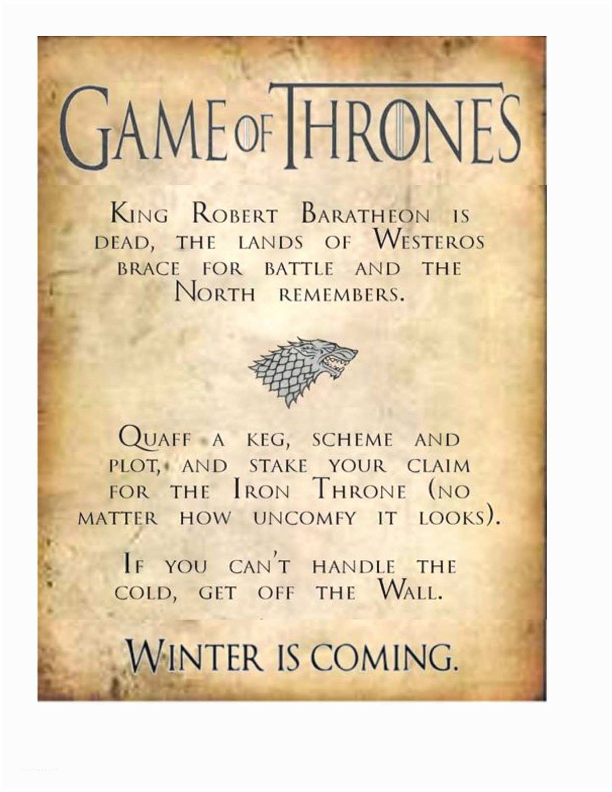 Game Of Thrones Party Invitation Obsessive Game Of Thrones Party Planning Guide S3pp