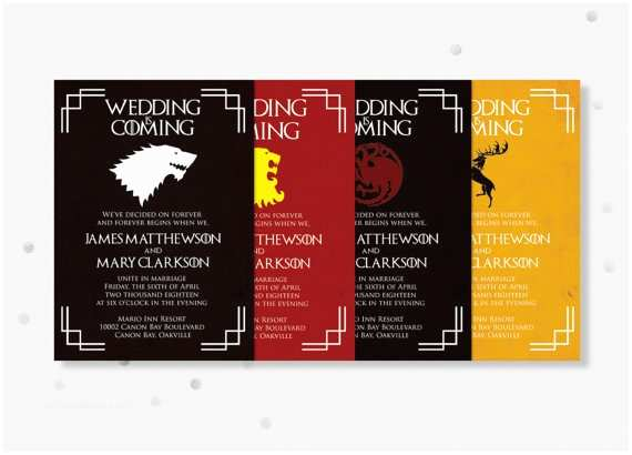 Game Of Thrones Wedding Invitations Items Similar to Printable Game Of Thrones Wedding