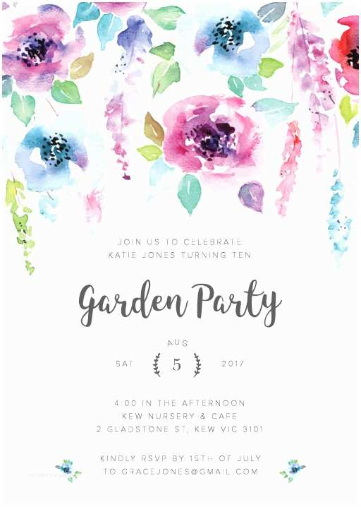 Garden Party Invitations Birthday Invitation Cards