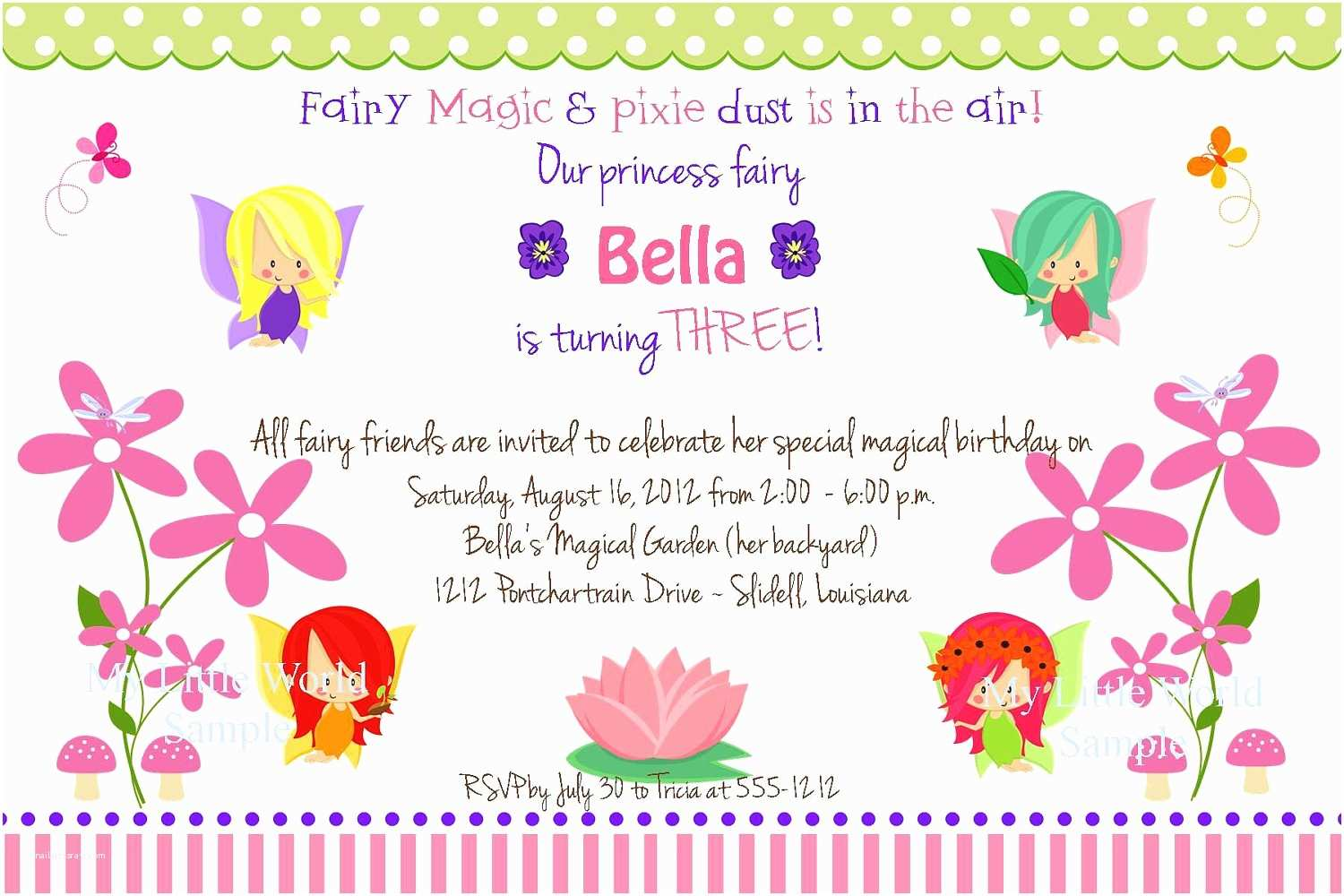 Garden Party Invitations Fairy Garden Invitation Garden Fairy Birthday and Address