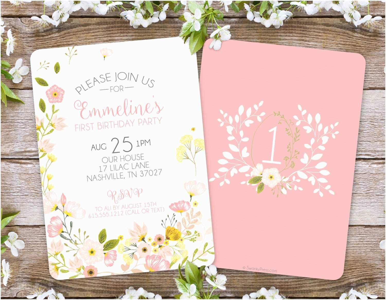 Garden Party Invitations First Birthday Invitation Girl Floral Invitation Garden