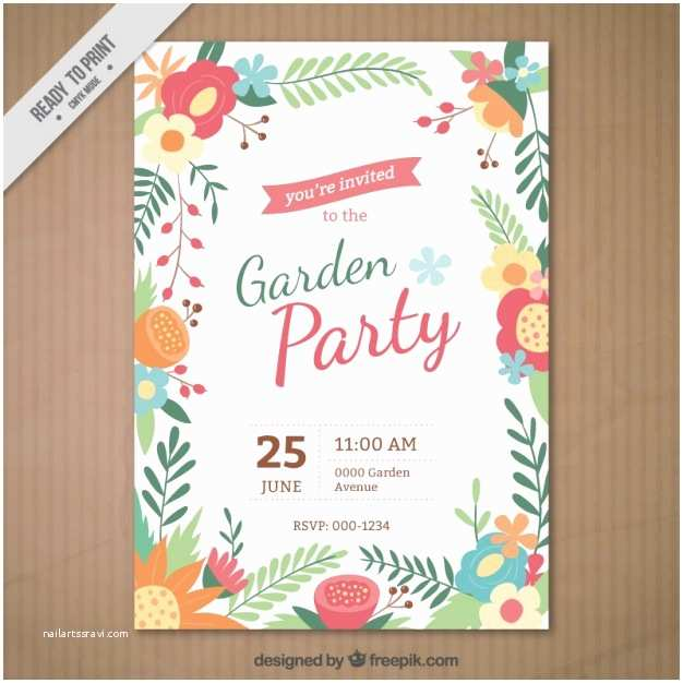 Garden Party Invitations Garden Party Invitation with A Floral Frame Vector