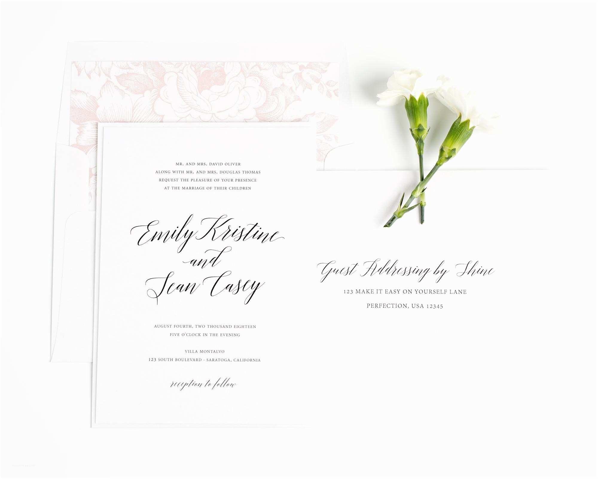 garden romance wedding invitations in blush