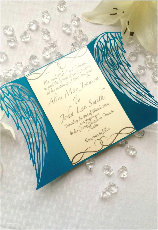 Gatefold Wedding Invitations Angel Wings Laser Cut Gatefold Wedding Invitation Etheral