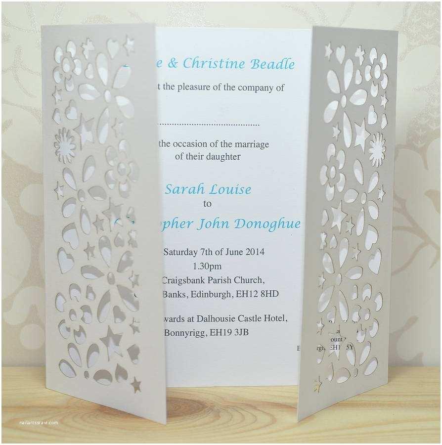 Gatefold Wedding Invitations Flower Laser Cut Gatefold Wedding Invitation by Sweet Pea