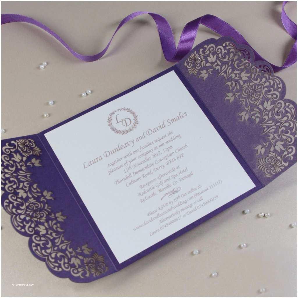 Gatefold Wedding Invitations Purple Gatefold Wedding Invitation Personalised Handmade