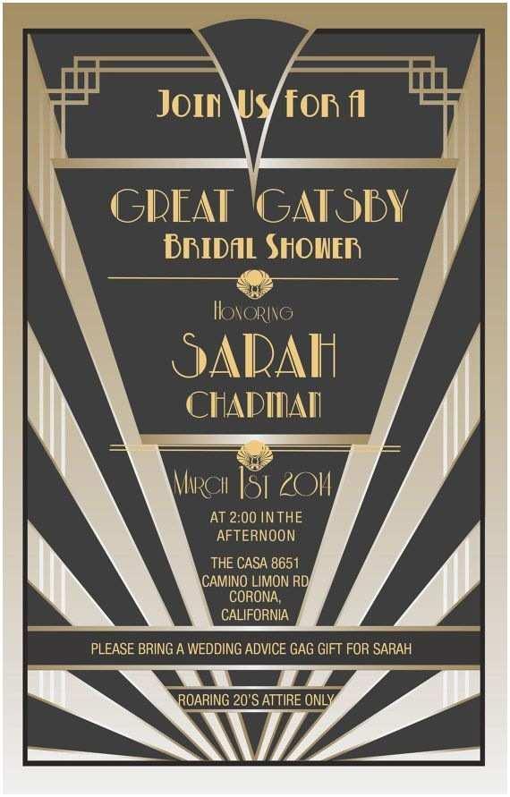 Gatsby Party Invitation Gatsby themed Bridal Shower Party Invite Bridalshower