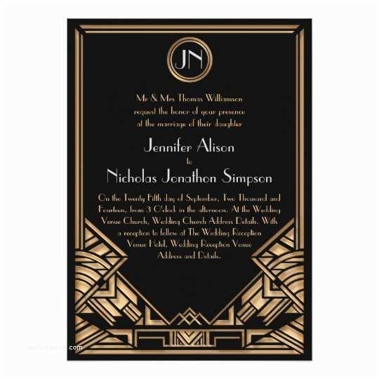Gatsby Wedding Invitations Black Gold Art Deco Gatsby Style Wedding Invites