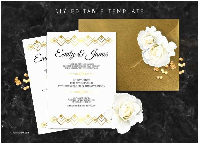 Gatsby Wedding Invitations Editable Wedding Invitation Template Great Gatsby Wedding