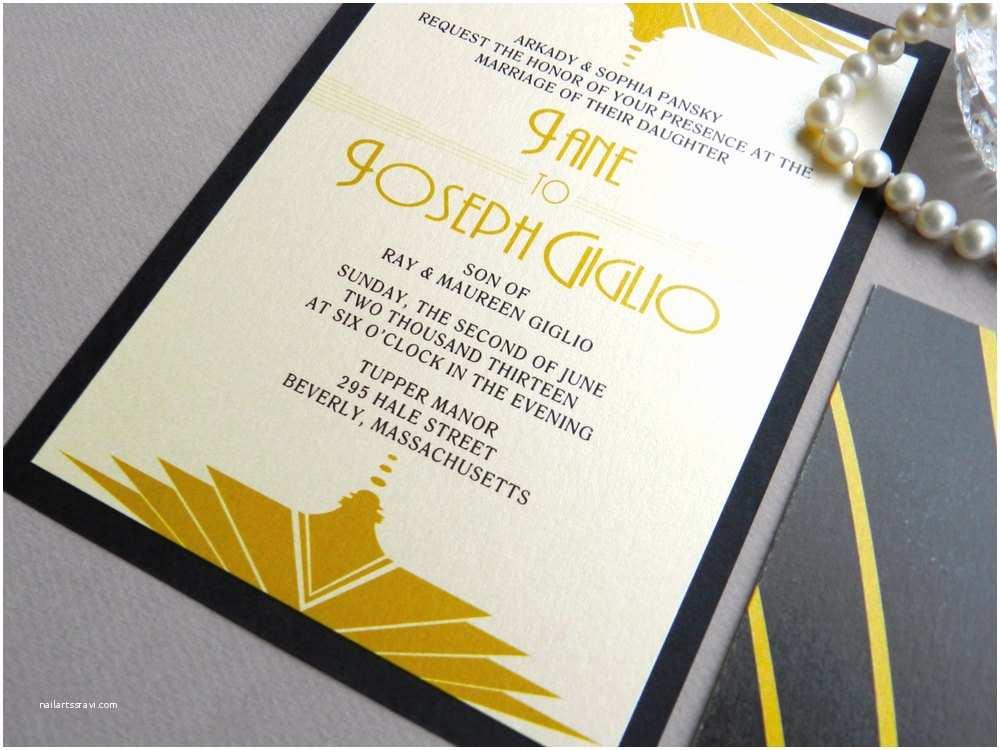 Gatsby Wedding Invitations Gatsby Art Deco Wedding Invitation — Ashley Parker