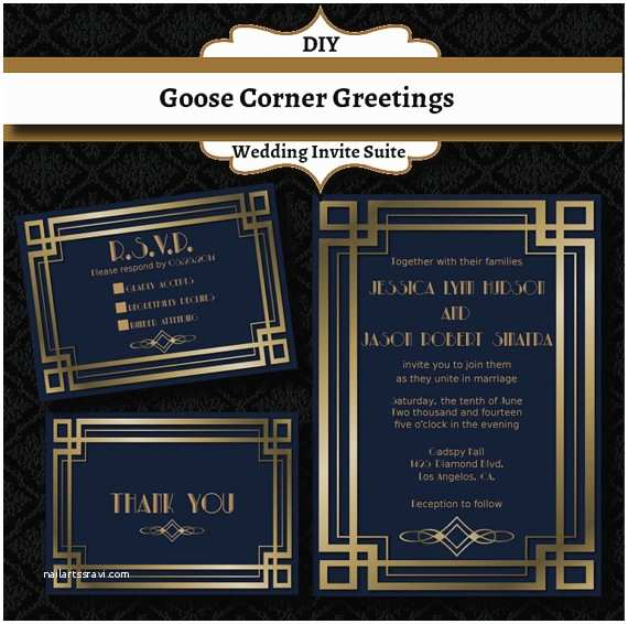 Gatsby Wedding Invitations Items Similar to Great Gatsby Wedding Invitation Suite Art
