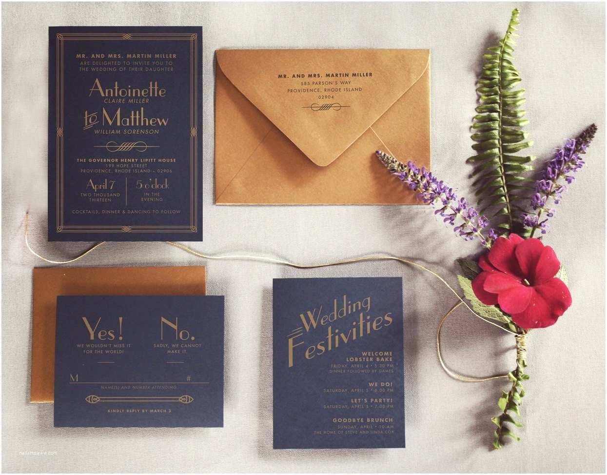 Gatsby Wedding Invitations The Great Gatsby Art Deco Wedding Invitation By