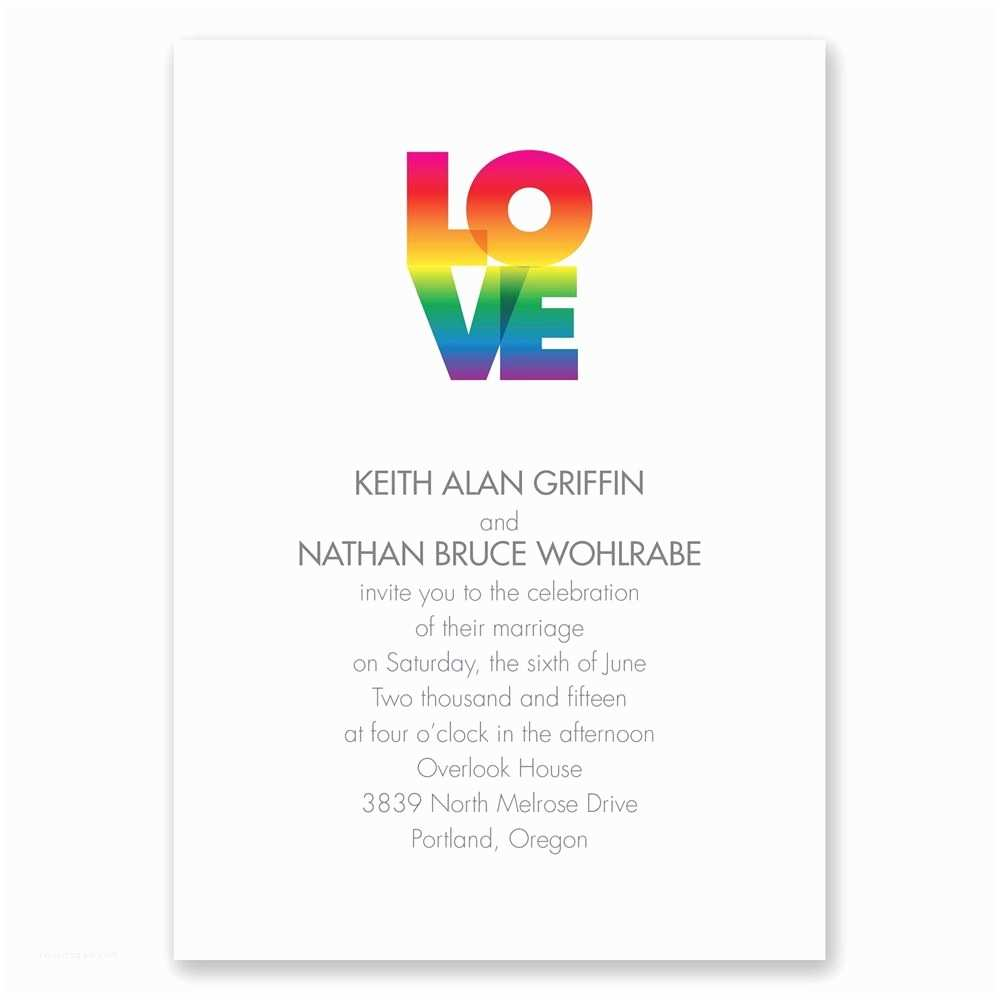 Gay Wedding Invitations Rainbow Love Invitation