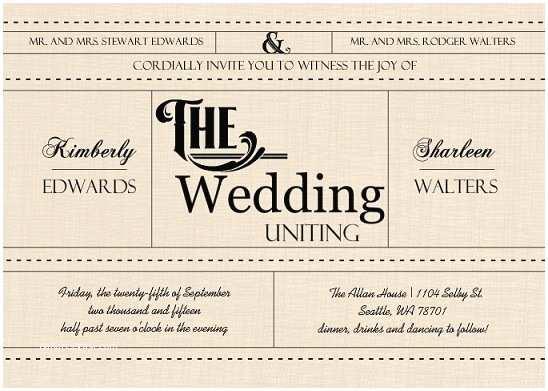 Gay Wedding Invitations Same Marriage Legalized In Washington State Wedding