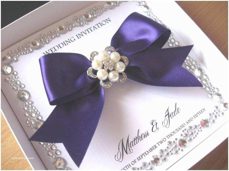 Gems Wedding Invitations Luxury Wedding Invitation with Diamante Gem Border & Pearl