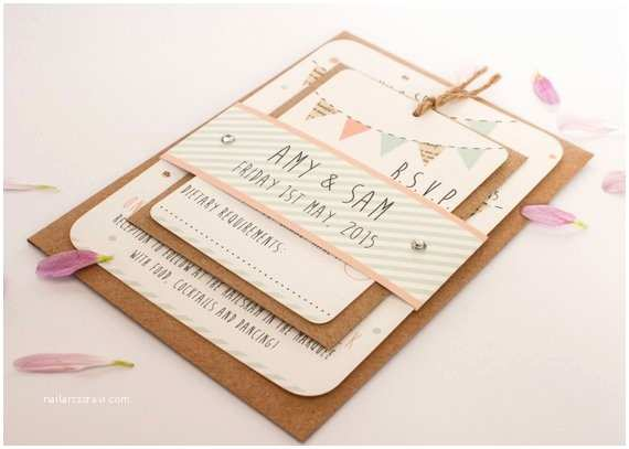 Gems Wedding Invitations Peach and Mint Wedding Invitation Bunting Gem by normadorothy
