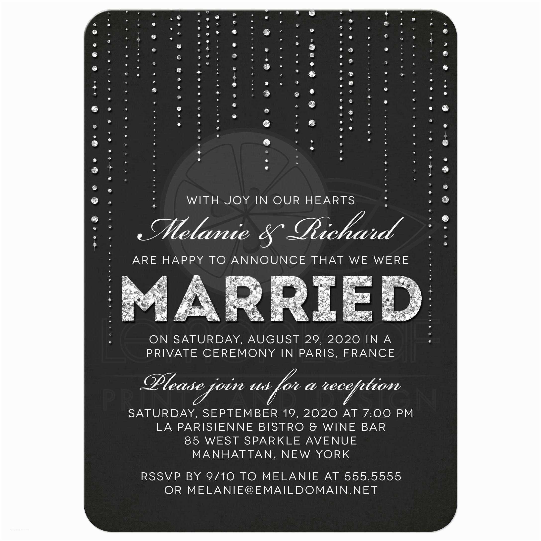 Gems Wedding Invitations Post Wedding Reception Ly Invitations Glitter Look