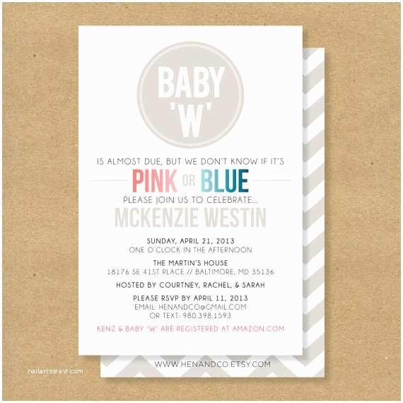 Gender Neutral Baby Shower Invitations Baby Shower Invitation Gender Neutral Boy or Girl by Henandco