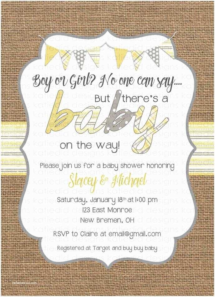 Gender Neutral Baby Shower Invitations Gender Neutral Baby Shower Invitations Burlap Yellow Gray