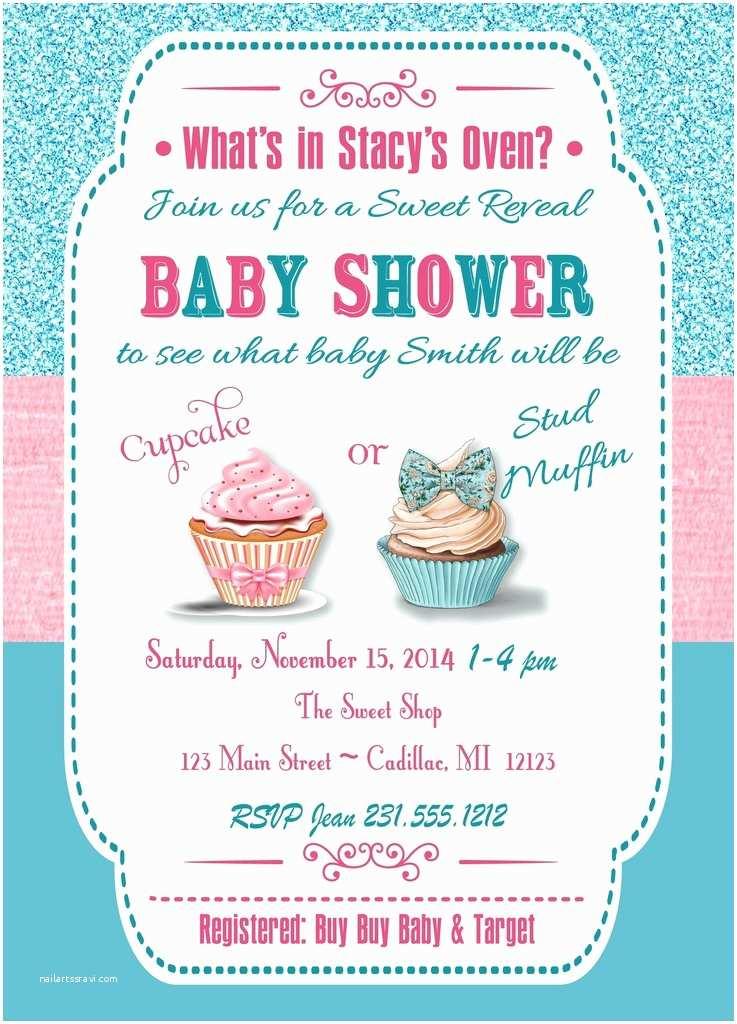 Gender Reveal Baby Shower Invitations Cupcake Gender Reveal Party Invitation Diy Baby Shower