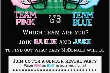Gender Reveal Baby Shower Invitations Football