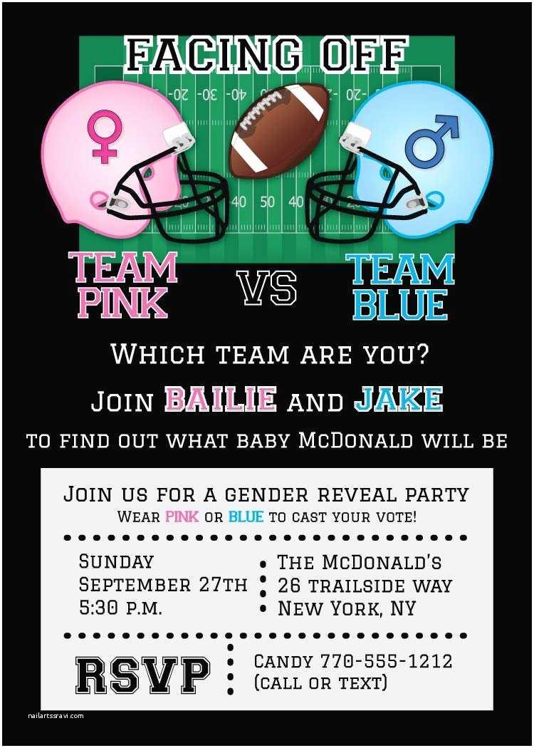 Gender Reveal Baby Shower Invitations Football Gender Reveal Invitation Football Baby Shower