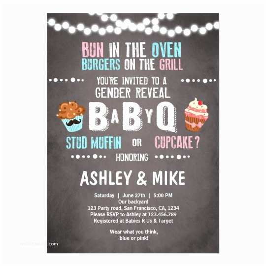Gender Reveal Baby Shower Invitations Gender Reveal Invitation Babyq Bbq Couples Shower